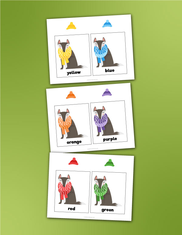 wolf color matching card game for preschool kids