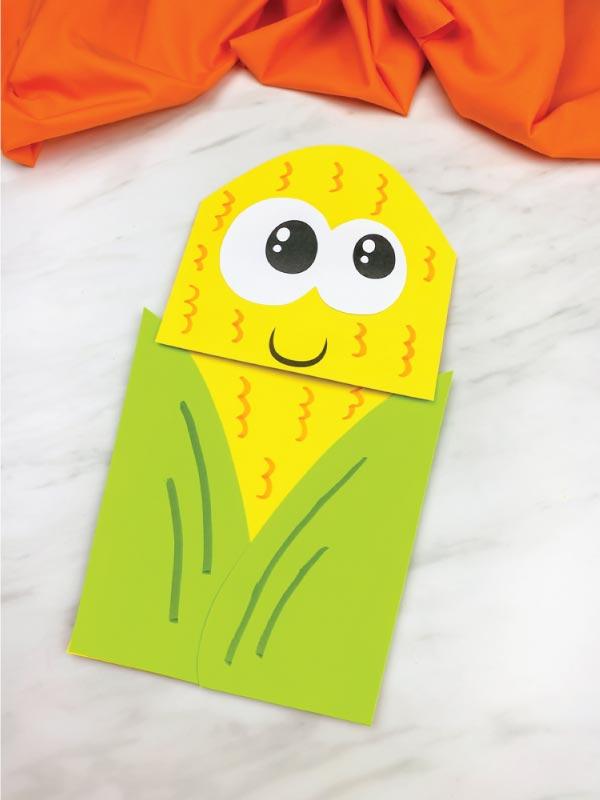 light green paper bag corn craft