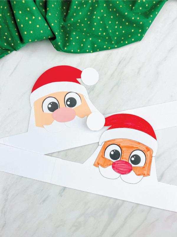 color in and craft version Santa headband crafts