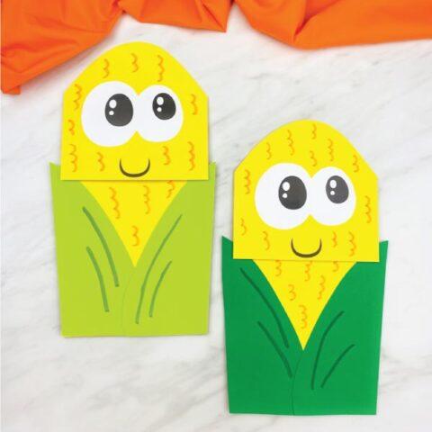 light green and dark green corn puppet craft for kids