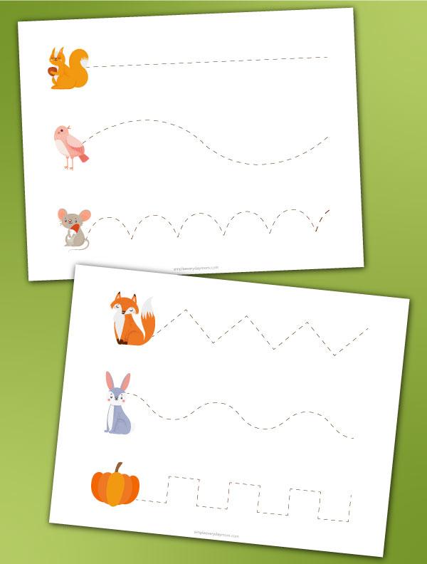 fall themed preschool pre writing worksheets