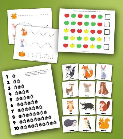 mockup of fall preschool printables