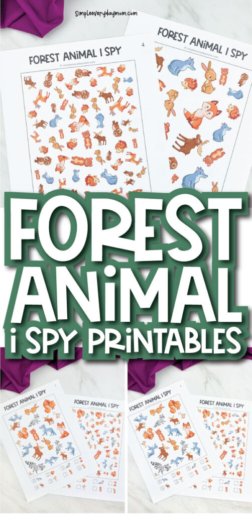 forest animal i spy printable image collage with the words forest animal i spy printables in the middle