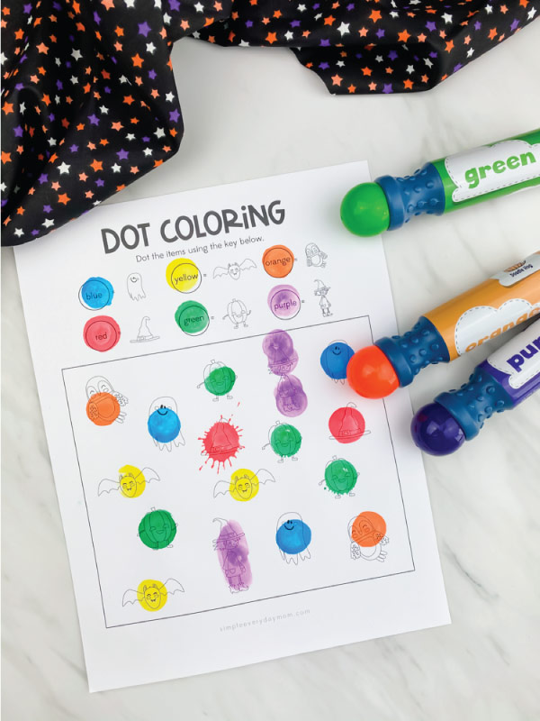 Halloween dot coloring page