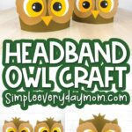 owl craft headband image collage with the words headband owl craft in the middle