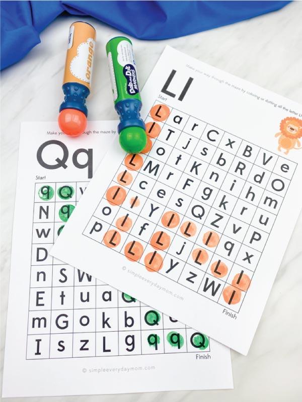 letter maze worksheets