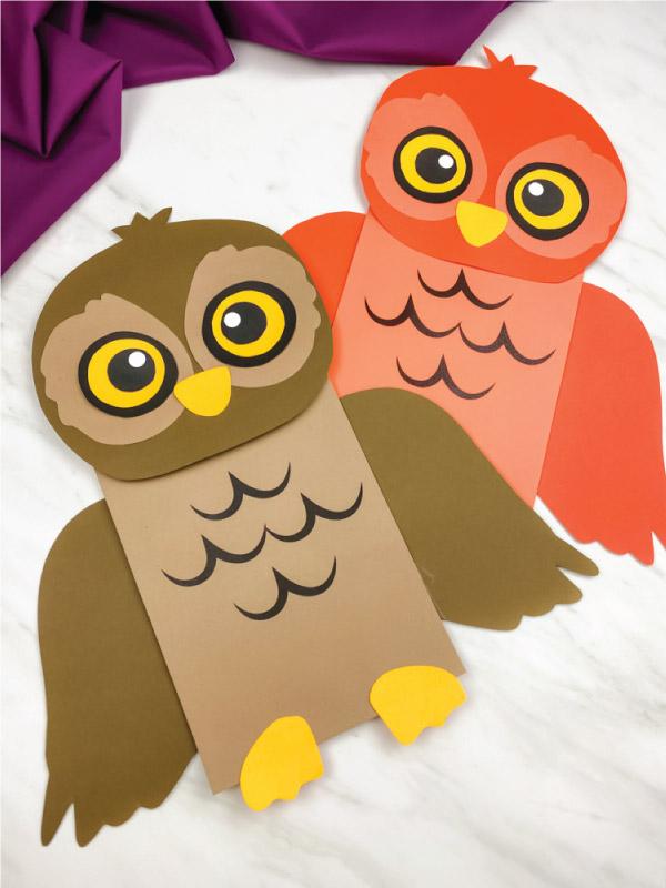 brown and orange paper bag owl craft