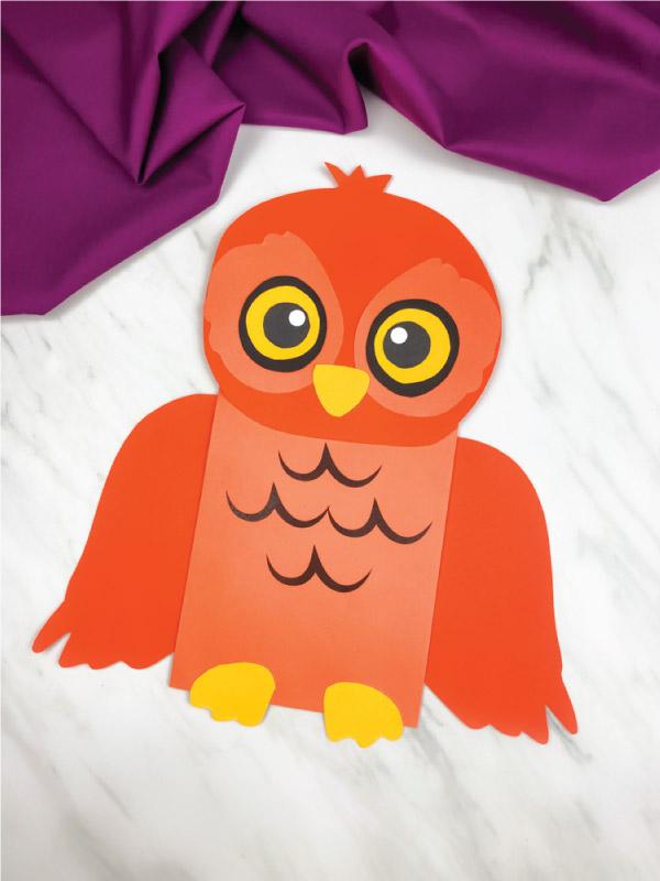 orange paper bag owl craft