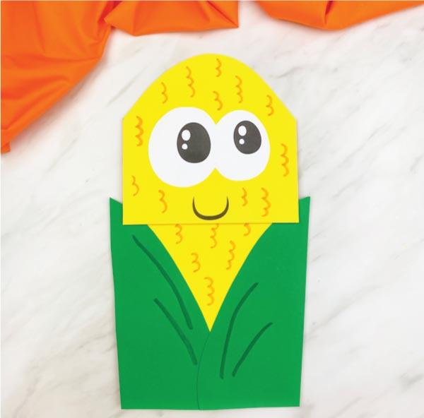 dark green paper bag corn craft