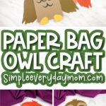collage of owl paper bag craft images with the words paper bag owl craft simpleeverydaymom.com in the middle