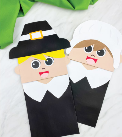 boy and girl paper bag pilgrim craft