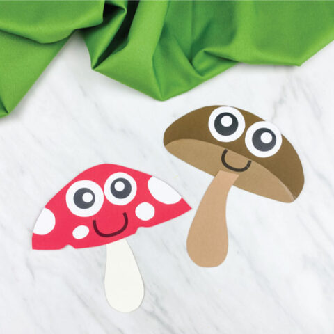 red and brown paper mushroom craft for kids