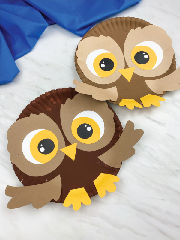two paper plate owl crafts