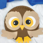 closeup of paper plate owl craft