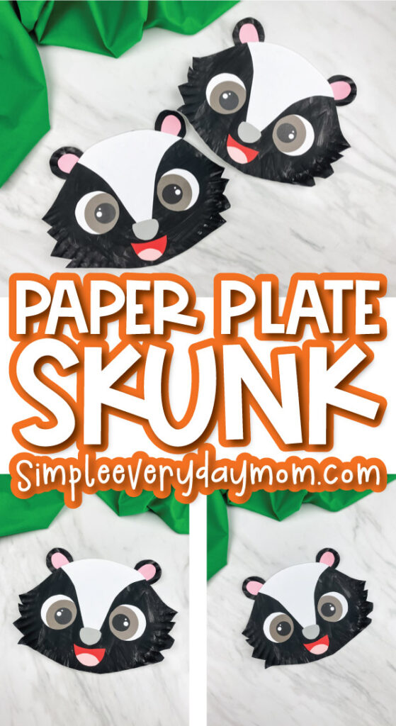 paper plate skunk craft image collage with the words paper plate skunk simpleeverydaymom.com in the middle