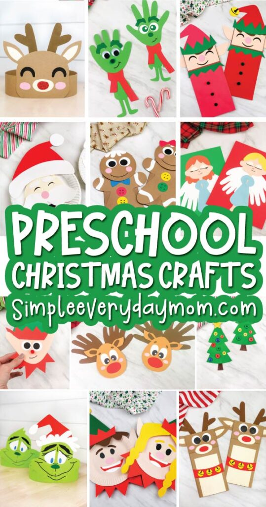 preschool christmas craft image collage with the words preschool christmas crafts simpleeverydaymom.com in the middle