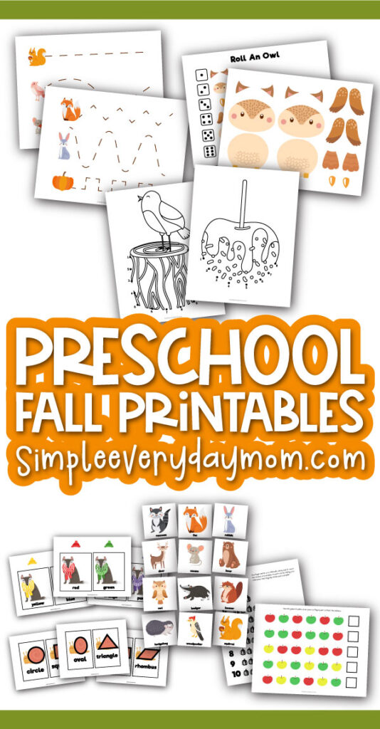 mockup of preschool printables with the words preschool fall printables simpleeverydaymom.com in the middle