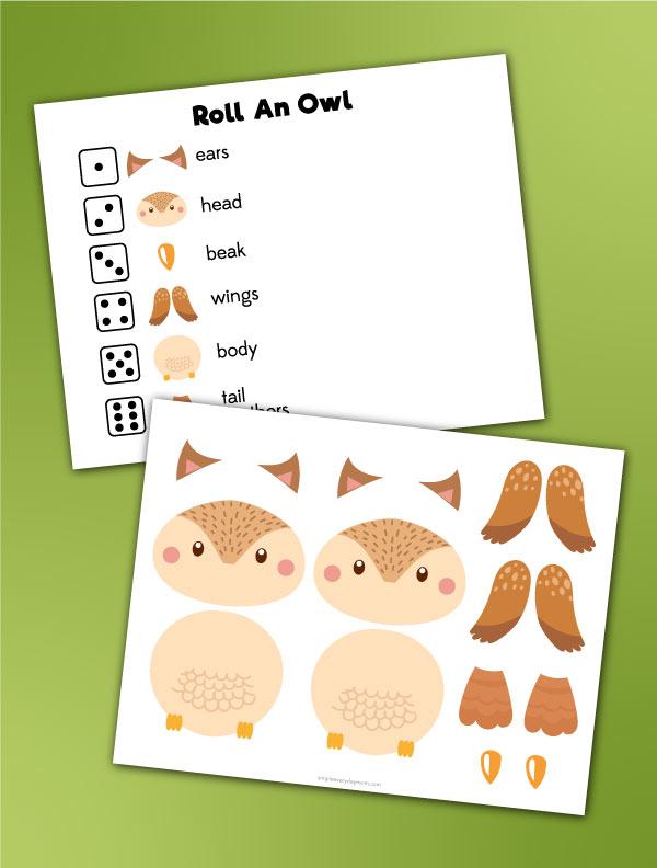 roll an owl printable preschool game