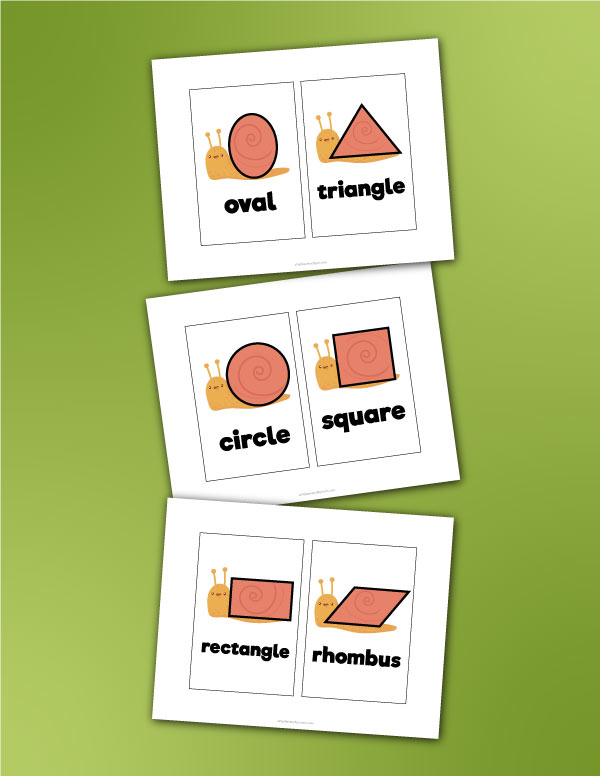 snail shape flashcards for preschoolers