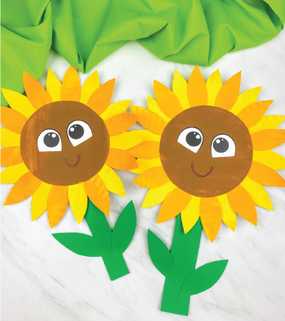 Two paper plate sunflower crafts