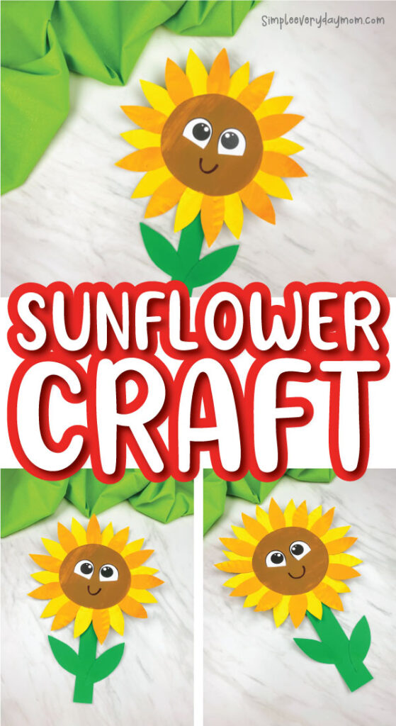 paper plate sunflower craft image collage with the words sunflower craft in the middle