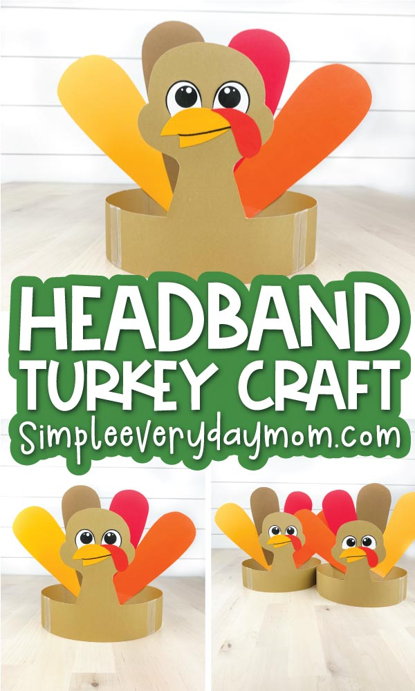 turkey headband craft image collage with the words headband turkey craft in the middle