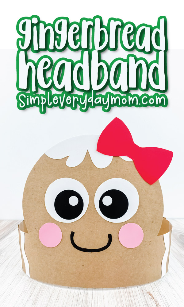 closeup of gingerbread headband craft with the words gingerbread headband at the top