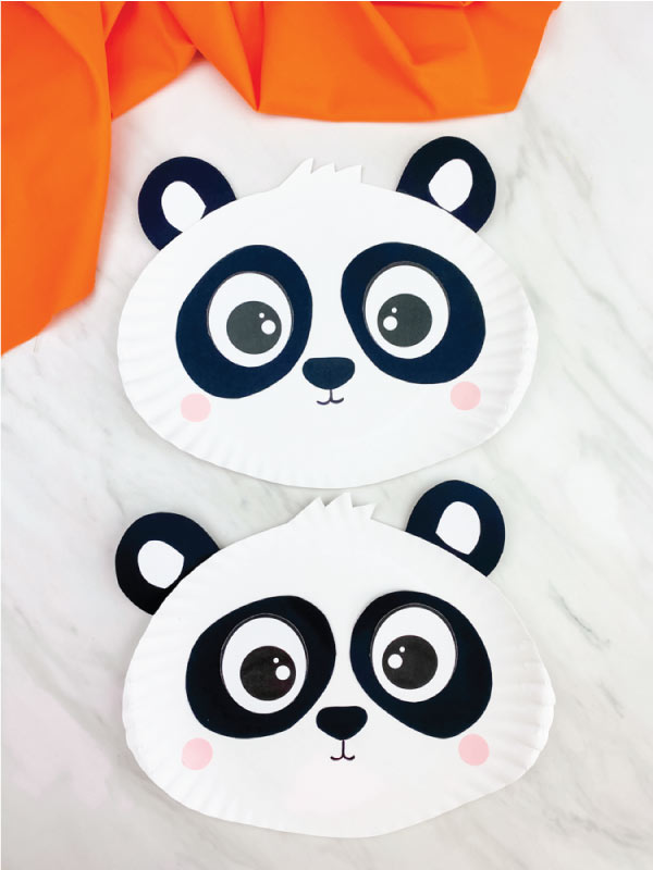 two paper plate panda crafts