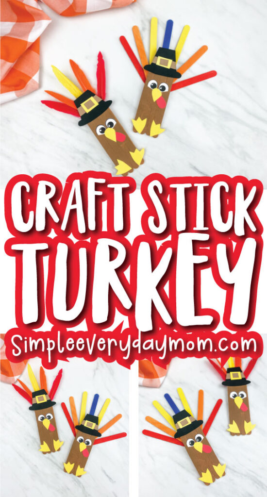 popsicle stick turkey craft image collage with the words craft stick turkey in the middle