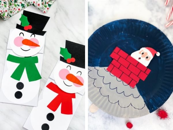 paper bag snowman and paper plate santa craft
