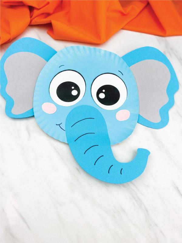 blue paper plate elephant craft
