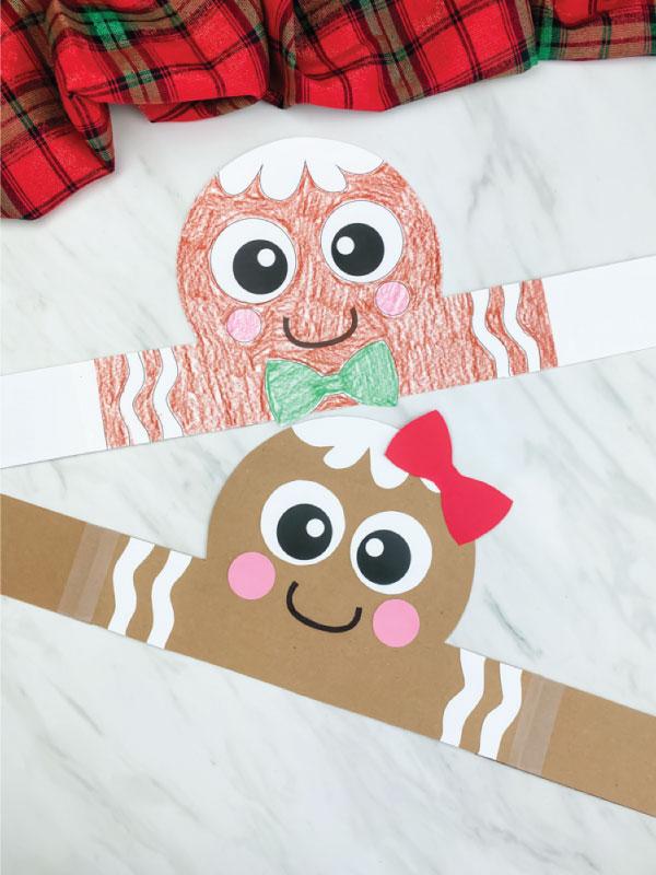 flattened gingerbread boy and girl headband craft