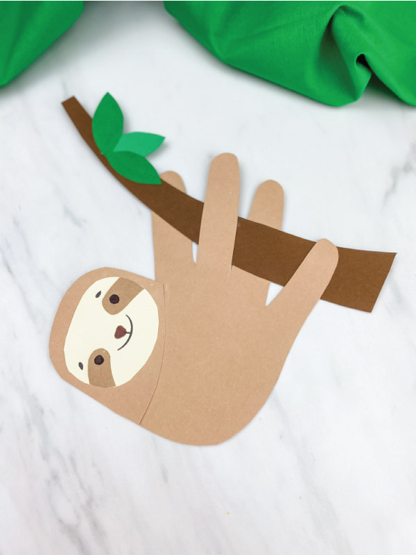 closeup of handprint sloth craft