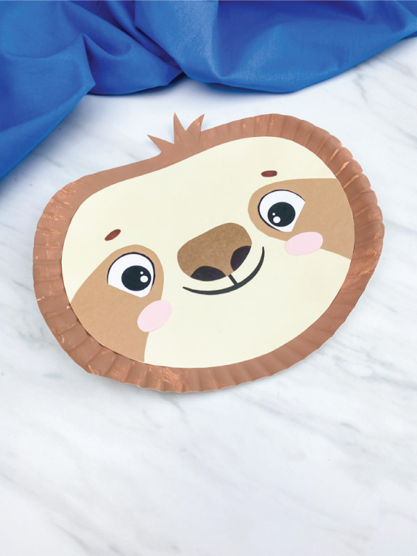 light brown paper plate sloth craft