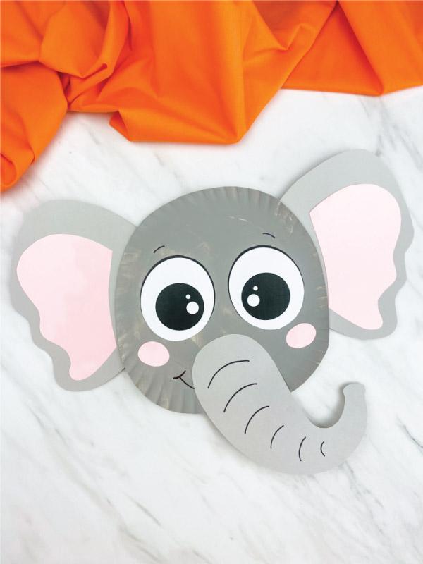gray paper plate elephant craft