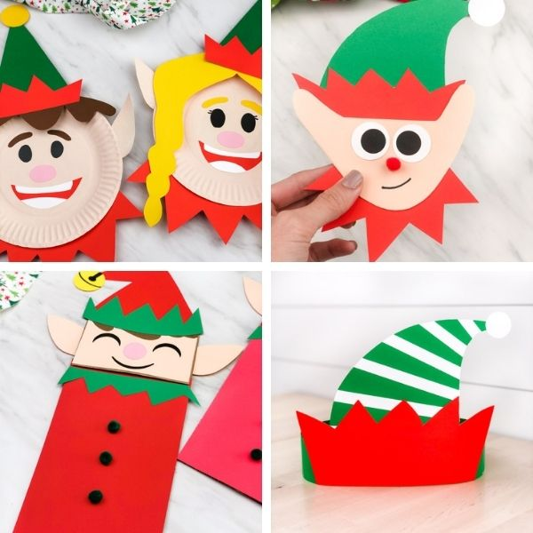 elf christmas crafts for kids image collage