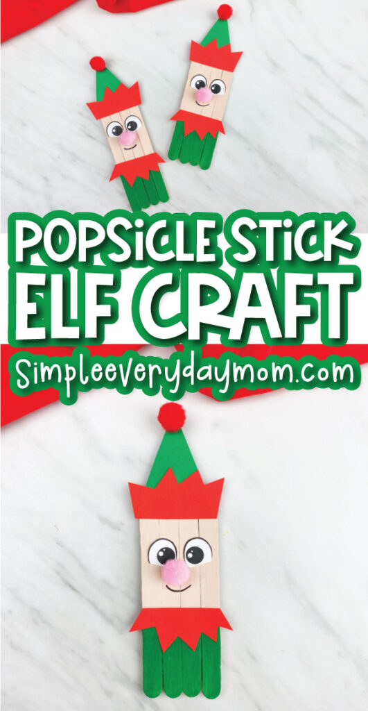 elf popsicle stick craft image collage with the words popsicle stick elf craft in the middle