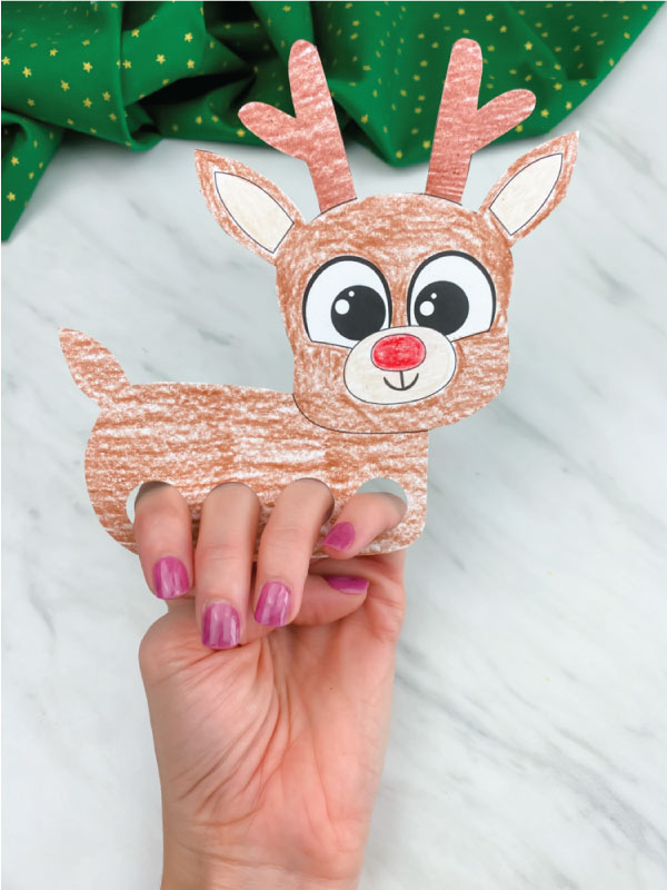 colored in reindeer finger puppet