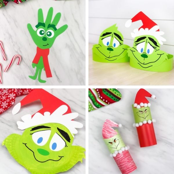 collage of grinch christmas crafts