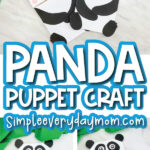paper bag panda craft image collage with the words panda puppet craft in the middle