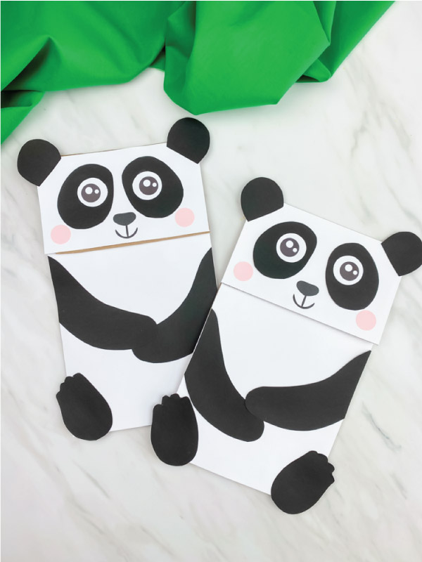 two paper bag panda crafts