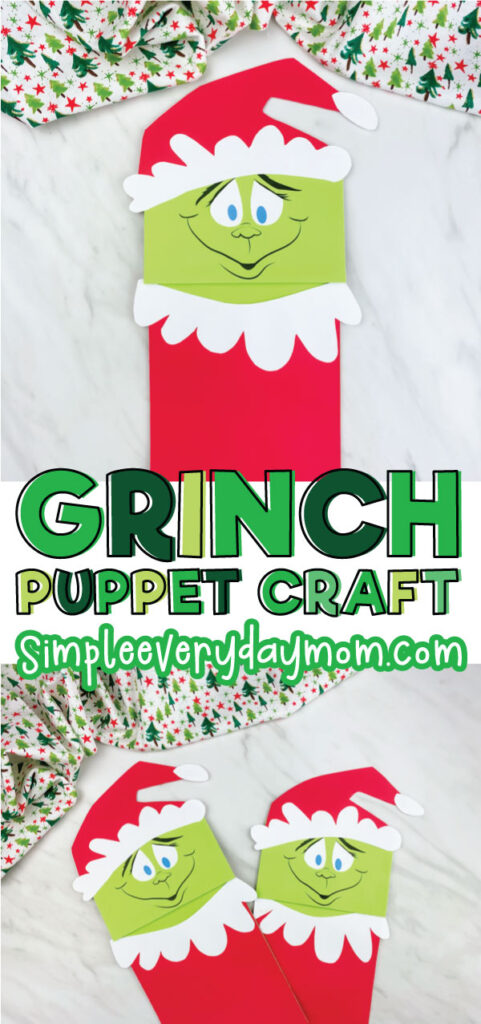 paper bag grinch craft image collage with the words grinch puppet craft in the middle