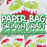 paper bag grinch craft image collage with the words paper bag grinch craft in the middle