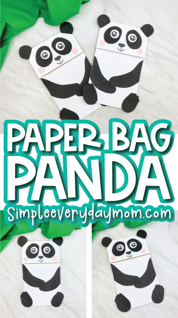 paper bag panda craft image collage with the words paper bag panda in the middle