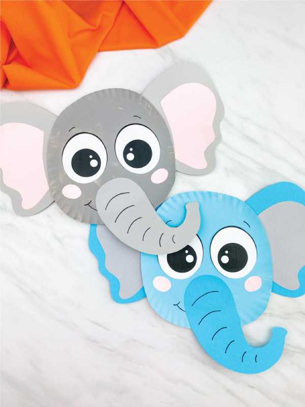 gray and blue paper plate elephant crafts