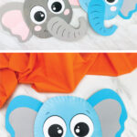 paper plate elephant craft image collage
