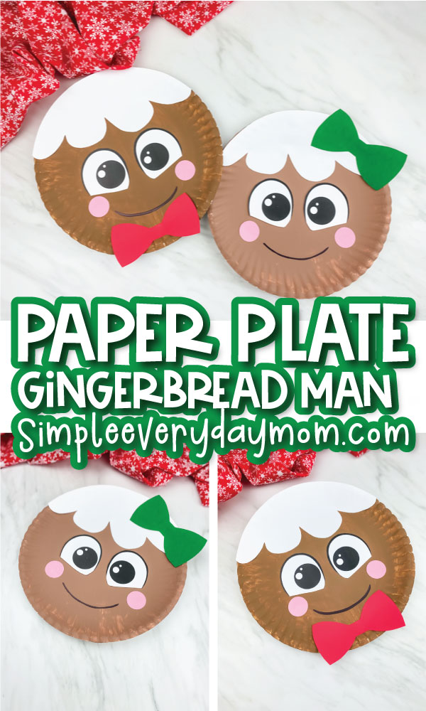 gingerbread man paper plate craft image collage with the words paper plate gingerbread man in the middle
