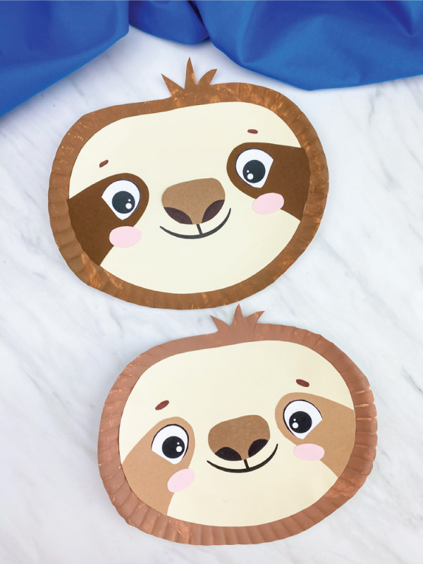 dark brown and light brown paper plate sloth craft