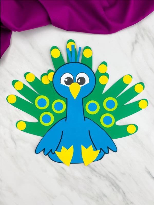 blue handprint peacock craft