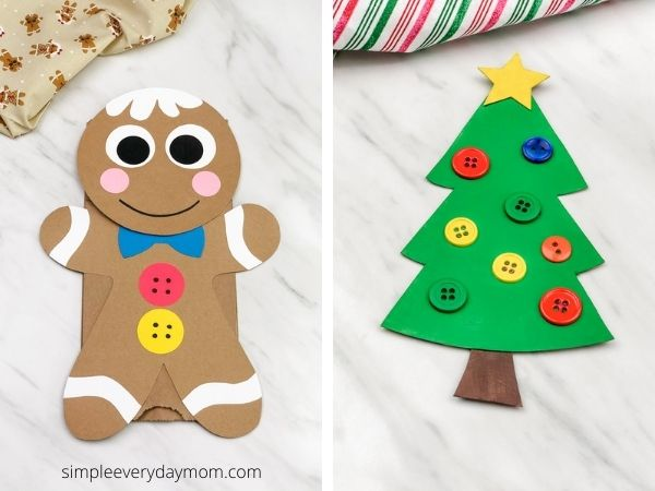 paper bag gingerbread man craft and recycled christmas tree craft